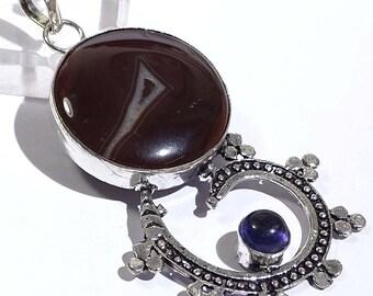"""Pendant Alluring black botswana agate gemstones 925  3.2"""" Q185"""