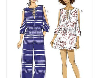 Vogue Pattern V9260 Misses' Romper and Jumpsuit with Cold Shoulder and Lace-Up Neckline