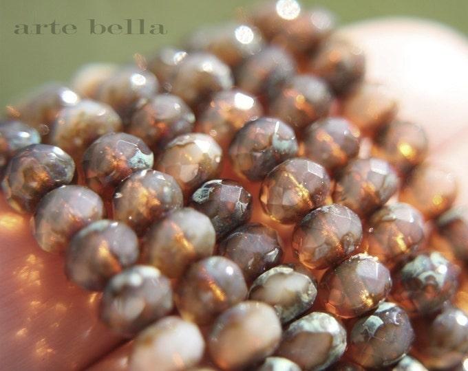 HONEY OPALS .. 10 Premium Picasso Czech Glass Rondelle Beads 7x5mm (570-10)