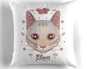 Custom cat pillow, Custom cat portrait, Gift for cat owner, Your pet on cushion, Throw pillow, Cat illustration, Cat cartoon cushion