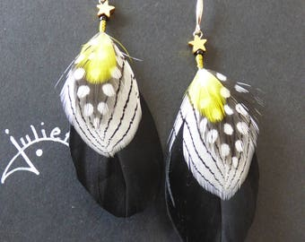 natural feather earrings with silver hook
