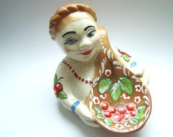 Сontainer for salt or other seasonings. Baked clay (ceramics). Handmade. Salt Cellar