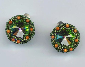 Beadwoven Clip on& Pierced Earrings, Swarovski Crystals, Emerald Rivoli Moonlight Stones, STERLING SILVER beaded Earrings, Christmas Holiday