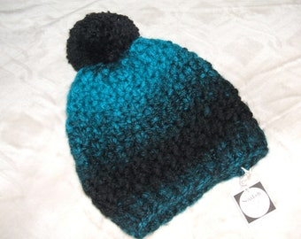 Soft Chunky Knit Slouchy Pom Pom Hat-Teal Blue & Black - Adult