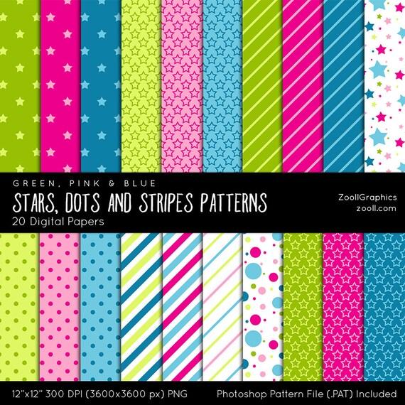 Estrellas, puntos y rayas patrones, 20 documentos digitales (12 \