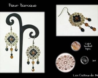Earrings 'Fleur Baroque' - BRONZE Topaz 3 +