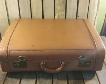 Vintage Large Suitcase, Camel Colored Suitcase,