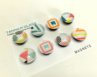 Geometrics - fun and colorful designs - choose from magnets or push pins- back to school - teacher gift