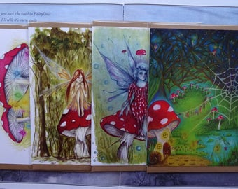 Fairy Toadstools Card pack of 4 A5 Art Cards
