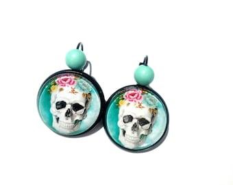 "Black Stud Earrings ""El dia of the dead"", glass cabochons."
