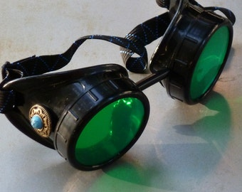 Steampunk Goggles Airship Captain Apocalyptic Mad Scientist Victorian Limited GGG-blue