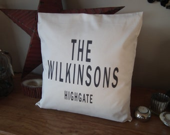 Personalised Surname & Town 100% Cotton Cushion Cover great Housewarming gift