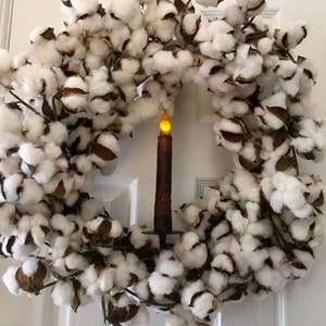 Large cotton wreath, cotton boll wreath, cotton, over the door wreath hanger, primitive candle, rustic wreath, cotton ball wreath, primitive