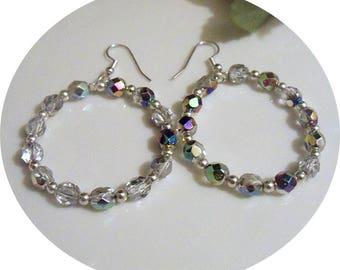 Hoop Earrings, Silver Hoop, Sparkly Hoop Earrings, Beaded Hoops, Rainbow Hoop Earrings