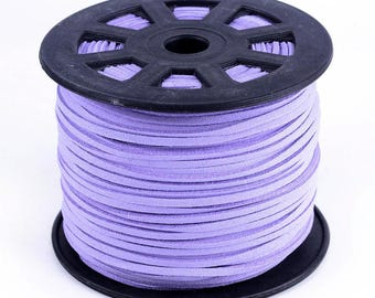 3 meters of suede cord 3 mm lilac color