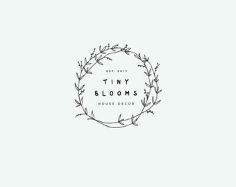 Wreath logo, Line logo, Botanical logo, hand drawn logo, doodle logo, Floral flower vine, black and white, Delicate logo, Premade logo