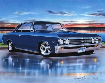 1967 Chevelle SS Hardtop Muscle Car Art Print w/ Color Options