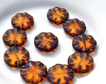 Amber Picasso Carved Coin Czech Glass Beads  5