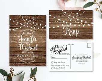 Rustic Wedding Invitation Country Chic Fall Wedding Printable Wedding Invitation Rsvp Postcard Wedding Rsvp Printable File #CL101