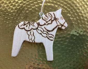 Swedish Dala Horse Ornament God Jul Natural Wood Burning Wooden Swedish Dalahorse Scandinavian Dalahäst