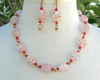 SALE - 50% off, Red Millefiori Glass Beads & Gold Hearts, Sweet Gift of Love, Valentine Gift, Necklace Set by SandraDesigns