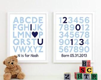 Baby Boy Wall Art for Boys Nursery Art, Baby Birth Print Baby Name Art, Boy Birth Announcement Nursery Decor, Nursery Alphabet Art