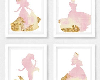 Disney, Nursery, Set of 4, Wall Art, Disney Princess, Baby shower, TINK, Gift for daughter, The little mermaid, Ariel, Beauty and the beast