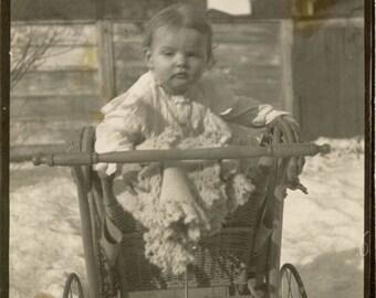 vintage photo 1909 Little Girl in Lace Blanket in Snow in Wicker Buggy