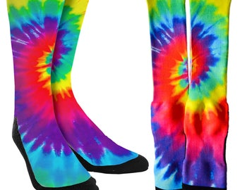 Tie Dye Crew Socks - Tie Dye Socks -Socks with Tie Dye -Tie Dye Clothing-Crazy Tie Dye Socks-Unique Socks -Novelty Socks - FREE Shipping B91