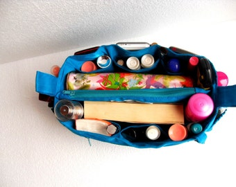 Bag organizer - Purse organizer insert in Blue fabric