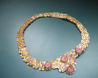 Antique Hand Stitched Crystal Rose Montees Sequins Choker Bib Necklace