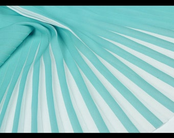 Teal Blue Blue and White Pleated Chiffon Fabric, Imported