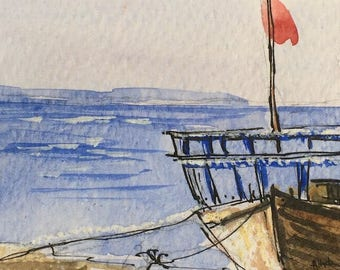 Seascape ORIGINAL Miniature Watercolour painting 'On the Shore' ACEO Ocean, For him, For her, Home Decor Gift Idea Wall Art, Free Shipping