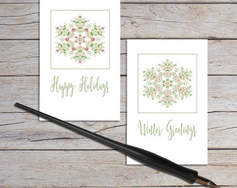 Mini Thank You Cards, Blank Note Card Set, Christmas Gift Tag, Enclosure Cards, Pink And Green Snowflake Design, Pack of Cards, Set of 10