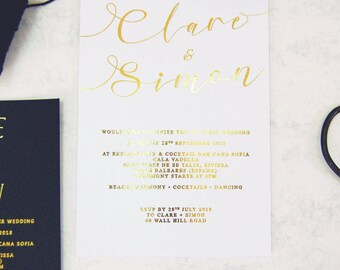 Wedding Invitation, Gold Foil Wedding Invitation,white and Gold Wedding invitation,Handwritten font Wedding invitation,Swirly Wedding invite