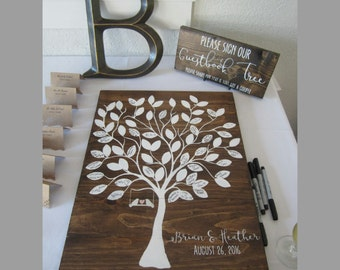 """Rustic Wedding Guestbook Tree Sign Wooden Wall Hanging 21"""" x 15"""" Real Wood / birds / swing / love / signatures guest book alternative"""