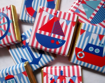 Personalised Chocolates Nautical cute party favour birthday candy bar 25 pcs