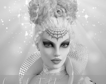 Fantasy Queen Woman Grayscale Coloring Page Greyscale For Adults