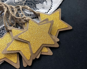 Star Shaped Gift Tags - Gold, Silver, White, Glitter, Textured, (6 pack)