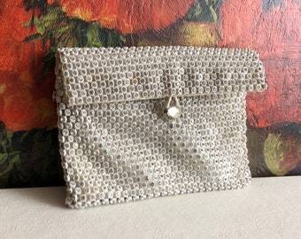 Rhinestone Wallet Silver Clutch Purse Vintage Distressed Handbag Mirror Evening Bag Satin Lining