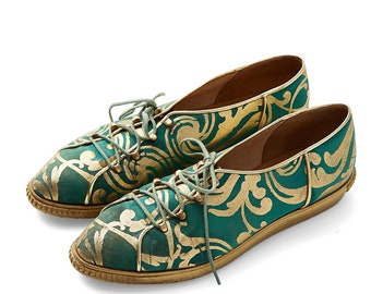 vintage 70s/80s CHARLES JOURDAN metallic brocade lace up sneakers brogues oxfords flats shoes