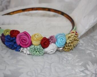 leather headband, leather flowers, floral hairband, multi colour leather flowers, boho headband, festival headband, handmade to order Ruby62