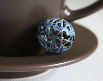 Mystic Moon Paisley Torch Fired Enamel Bead 20mm