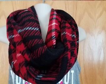 New Handmade Mobius Scarf Full Red Plaid Anti Fleece Scarf Warm. 73 x 8(16)