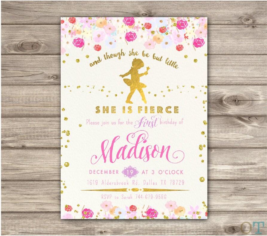 Tiny Dancer Ballerina First Birthday invitations 1st Dance and