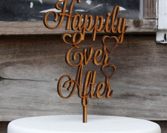 Happily Ever After  rustic wooden cake Topper wedding, engagement, anniversary