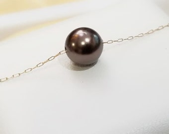 Brown Swarovski Crystal Pearl and Gold Fill Necklace - Wedding Gift, Bridesmaid Gift, Single, Layered, FloatingPearl Necklace