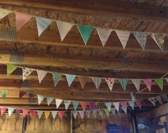 Pennant Bunting, Country Patterned Paper Bunting, Rustic Chic, Wedding and Party Paper Banner, Garland
