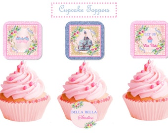 MARIE ANTOINETTE Cupcake TOPPERS ~ Printable Instant Download