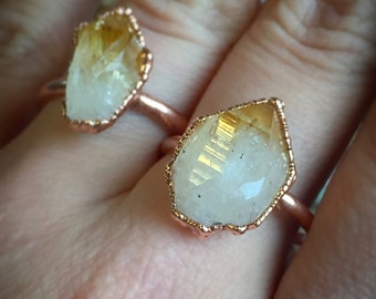 MADE TO ORDER- Raw Citrine Point Ring- Electroformed, Copper, Golden Amethyst, November Birthstone, any size